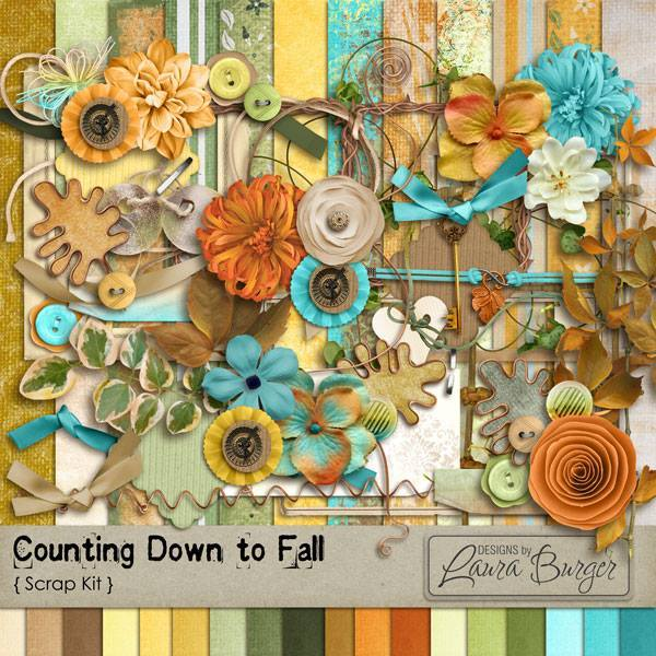 Counting Down To Fall Scrap Kit Digital Art - Digital Scrapbooking Kits