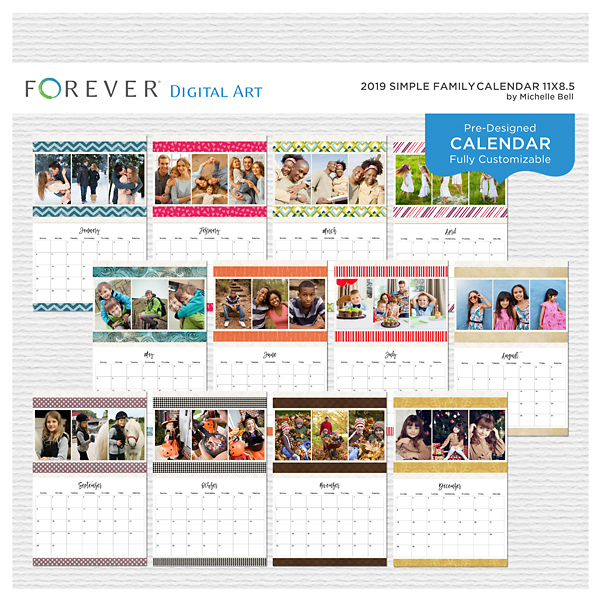 2019 Simple Family Calendar 11x8.5 Digital Art - Digital Scrapbooking Kits