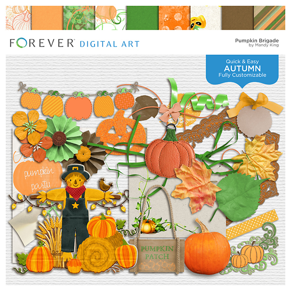 Pumpkin Brigade Digital Art - Digital Scrapbooking Kits