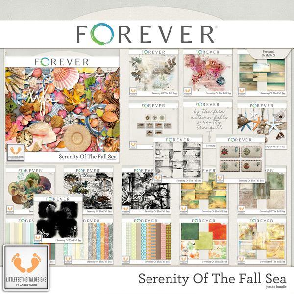 Serenity Of The Fall Sea Jumbo Bundle Digital Art - Digital Scrapbooking Kits