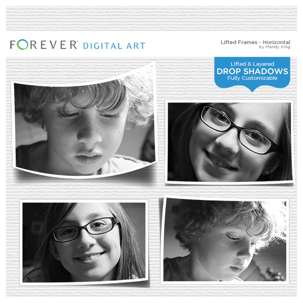 Lifted Frames - Horizontals Digital Art - Digital Scrapbooking Kits