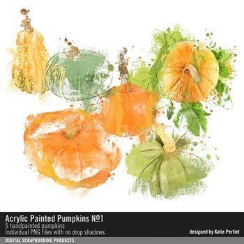 Acrylic Painted Pumpkins No. 01 Digital Art - Digital Scrapbooking Kits