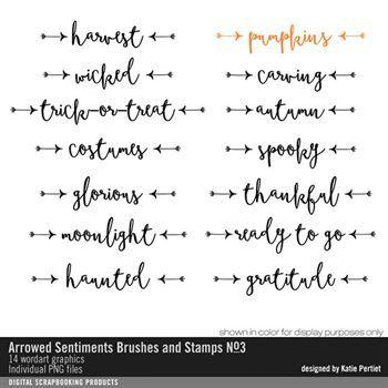 Arrowed Sentiments Brushes And Stamps No. 03 Digital Art - Digital Scrapbooking Kits