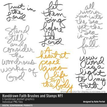 Handdrawn Faith Brushes And Stamps No. 01 Digital Art - Digital Scrapbooking Kits