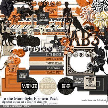In The Moonlight Element Pack Digital Art - Digital Scrapbooking Kits