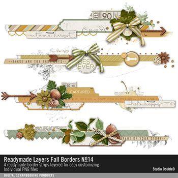 Readymade Layers Fall Borders No. 14 Digital Art - Digital Scrapbooking Kits