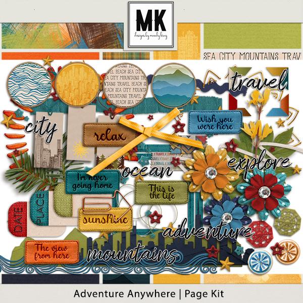 Adventure Anywhere Page Kit Digital Art - Digital Scrapbooking Kits