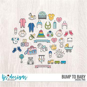 Bump To Baby Enamel Pins Digital Art - Digital Scrapbooking Kits