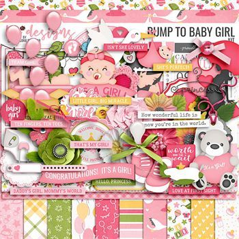 Bump To Baby Girl Digital Art - Digital Scrapbooking Kits