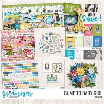 Bump To Baby Girl Bundle Digital Art - Digital Scrapbooking Kits
