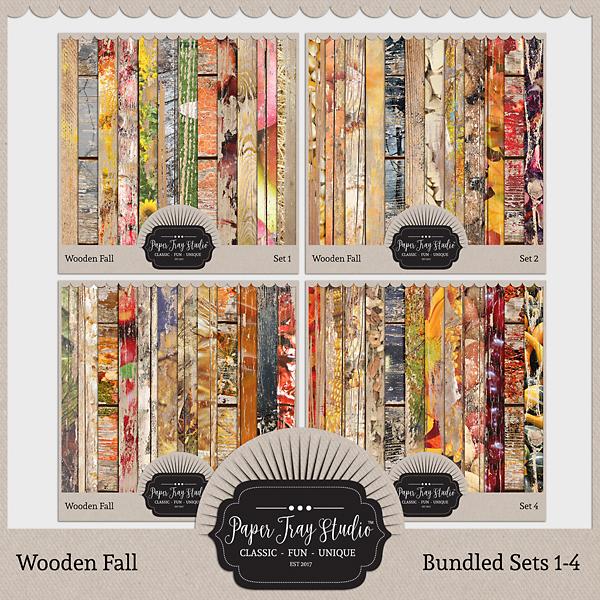 Wooden Fall - Sets 1-4 Digital Art - Digital Scrapbooking Kits