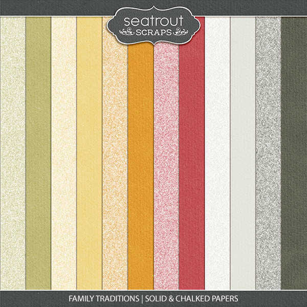 Family Traditions - Solid And Chalk Papers Digital Art - Digital Scrapbooking Kits