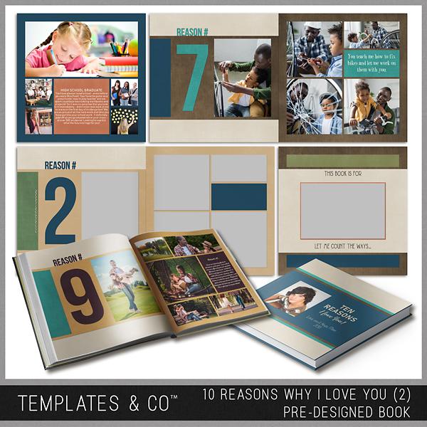10 Reasons Why I Love You (2) - Pre-designed Book Digital Art - Digital Scrapbooking Kits