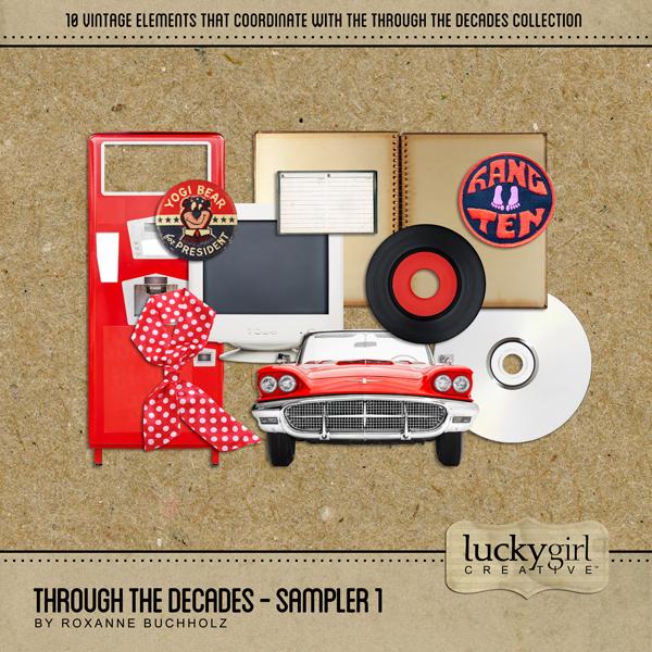 Through The Decades - Sampler 1 Digital Art - Digital Scrapbooking Kits