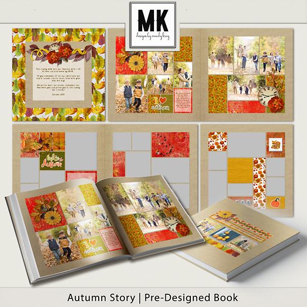 Autumn Story Pre-designed Book Digital Art - Digital Scrapbooking Kits