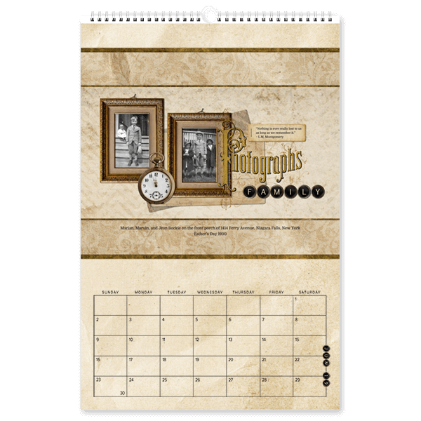 Vintage Photographs Calendar