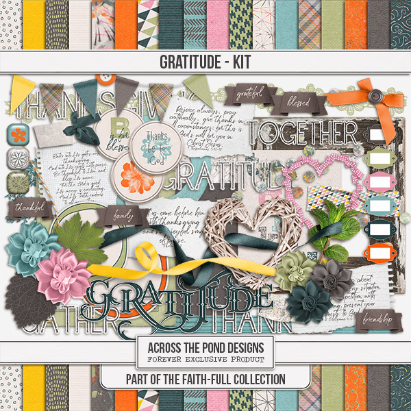 Faithfull Series - Gratitude Page Kit Digital Art - Digital Scrapbooking Kits