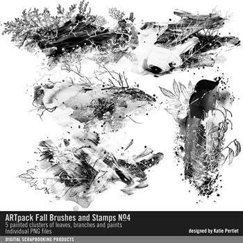 Artpack Fall Brushes And Stamps No. 04 Digital Art - Digital Scrapbooking Kits