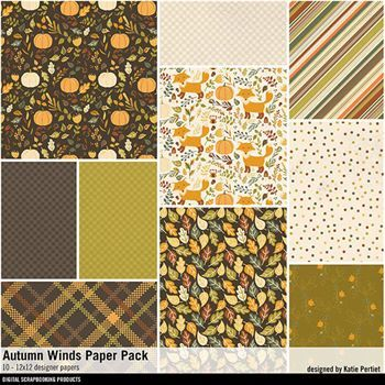 Autumn Winds Paper Pack Digital Art - Digital Scrapbooking Kits