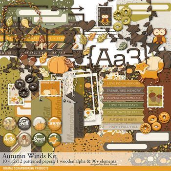 Autumn Winds Scrapbook Kit Digital Art - Digital Scrapbooking Kits