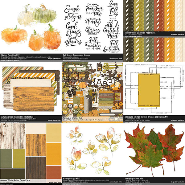 Autumn Winds Scrapbooking Bundle Digital Art - Digital Scrapbooking Kits