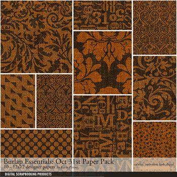 Burlap Essentials Oct.31st Paper Pack Digital Art - Digital Scrapbooking Kits