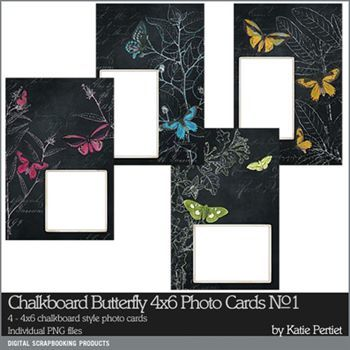 Chalkboard Butterfly 4x6 Photo Cards No. 01 Digital Art - Digital Scrapbooking Kits