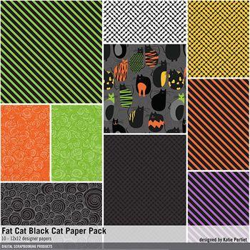 Fat Cat Black Cat Paper Pack Digital Art - Digital Scrapbooking Kits
