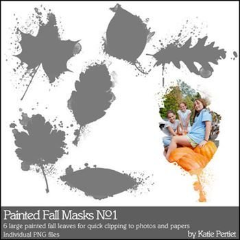 Painted Fall Masks No. 01 Brushes And Stamps Digital Art - Digital Scrapbooking Kits