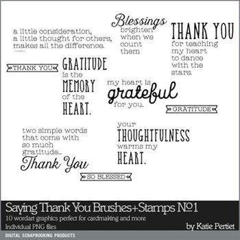 Saying Thank You Brushes And Stamps No. 01 Digital Art - Digital Scrapbooking Kits