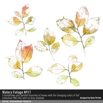 Watery Foliage No. 17 Digital Art - Digital Scrapbooking Kits