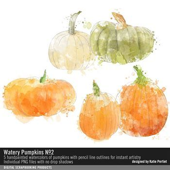 Watery Pumpkins No. 02 Digital Art - Digital Scrapbooking Kits