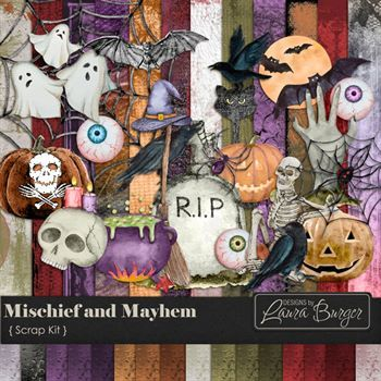 Mischief And Mayhem Scrap Kit Digital Art - Digital Scrapbooking Kits