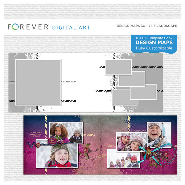 Forever Design Maps 30 11x8.5 Digital Art - Digital Scrapbooking Kits