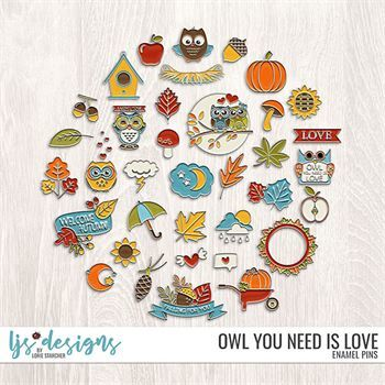 Owl You Need Is Love Enamel Pins Digital Art - Digital Scrapbooking Kits