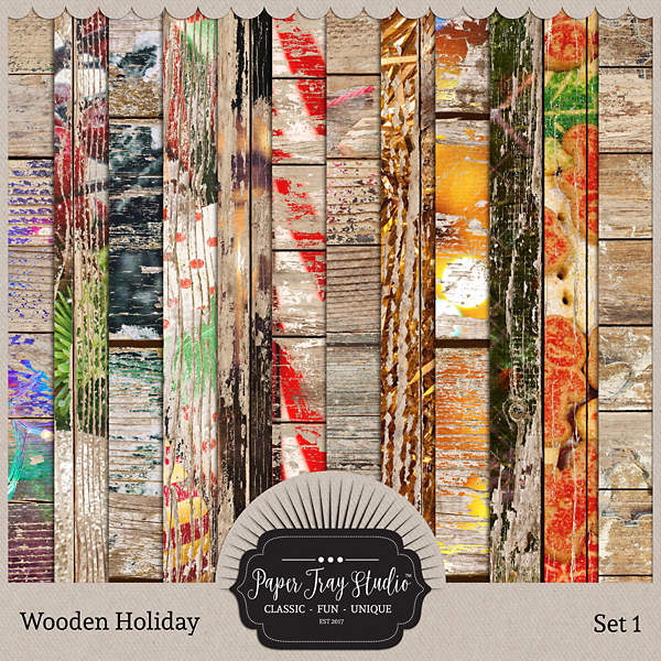 Wooden Holiday Collection - Set 1 Digital Art - Digital Scrapbooking Kits