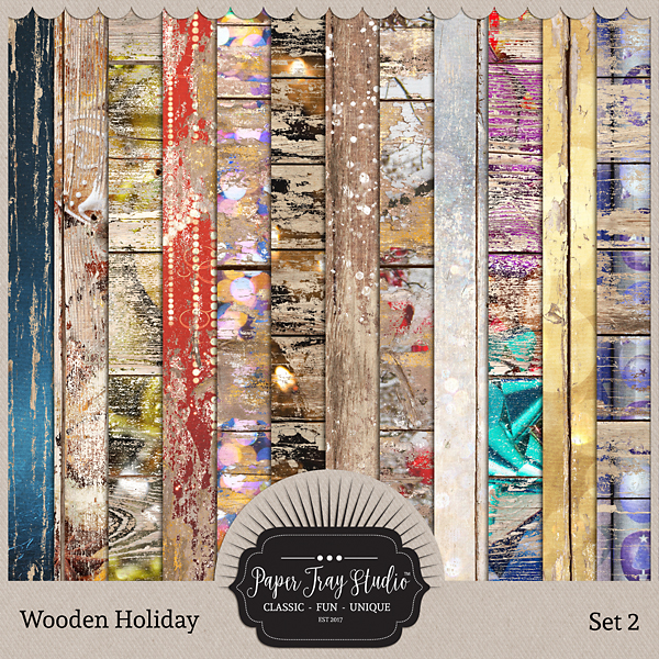 Wooden Holiday Collection - Set 2 Digital Art - Digital Scrapbooking Kits