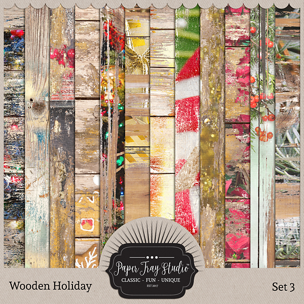 Wooden Holiday Collection - Set 3 Digital Art - Digital Scrapbooking Kits