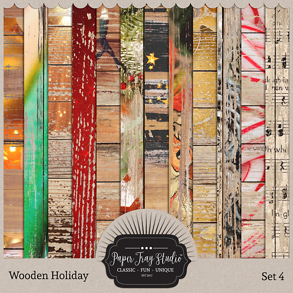 Wooden Holiday Collection - Set 4 Digital Art - Digital Scrapbooking Kits