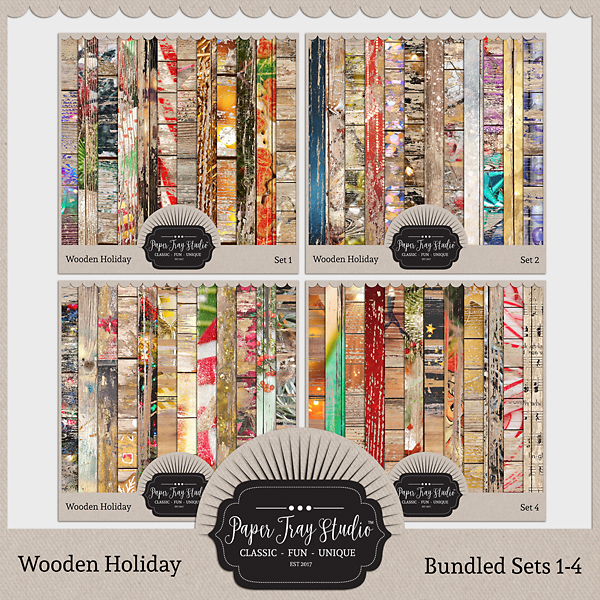 Wooden Holiday Collection - Sets 1-4 Digital Art - Digital Scrapbooking Kits