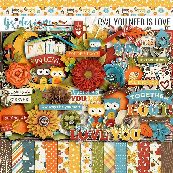 Owl You Need Is Love Digital Art - Digital Scrapbooking Kits