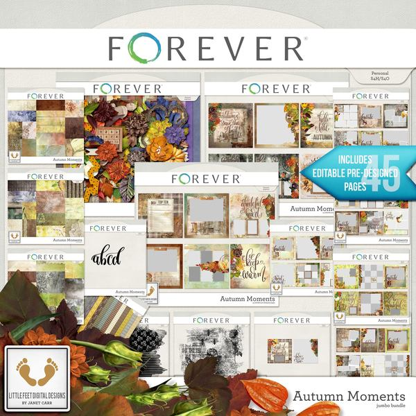 Autumn Moments Jumbo Bundle Digital Art - Digital Scrapbooking Kits