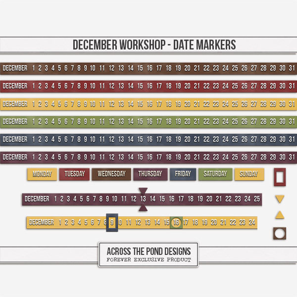 December Workshop - Date Markers Digital Art - Digital Scrapbooking Kits