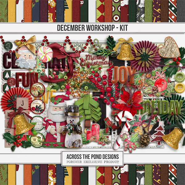 December Workshop - Page Kit Digital Art - Digital Scrapbooking Kits