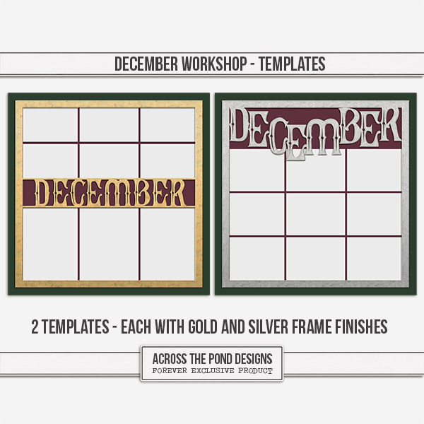 December Workshop - Templates Digital Art - Digital Scrapbooking Kits