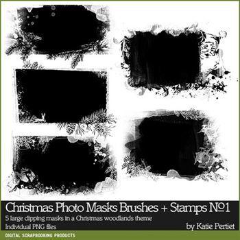 Christmas Photo Masks Brushes And Stamps No. 01 Digital Art - Digital Scrapbooking Kits