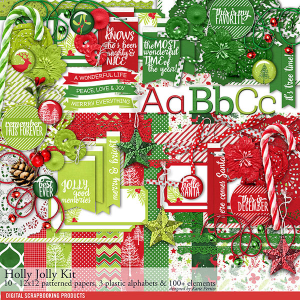 Holly Jolly Christmas Scrapbooking Kit Digital Art - Digital Scrapbooking Kits