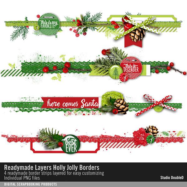Readymade Layers Holly Jolly Borders No. 01 Digital Art - Digital Scrapbooking Kits