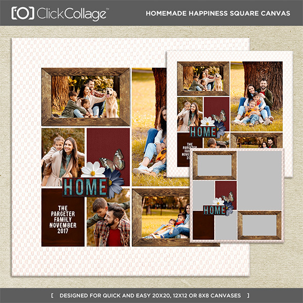Homemade Happiness Pre Designed Square Canvas Digital Art - Digital Scrapbooking Kits
