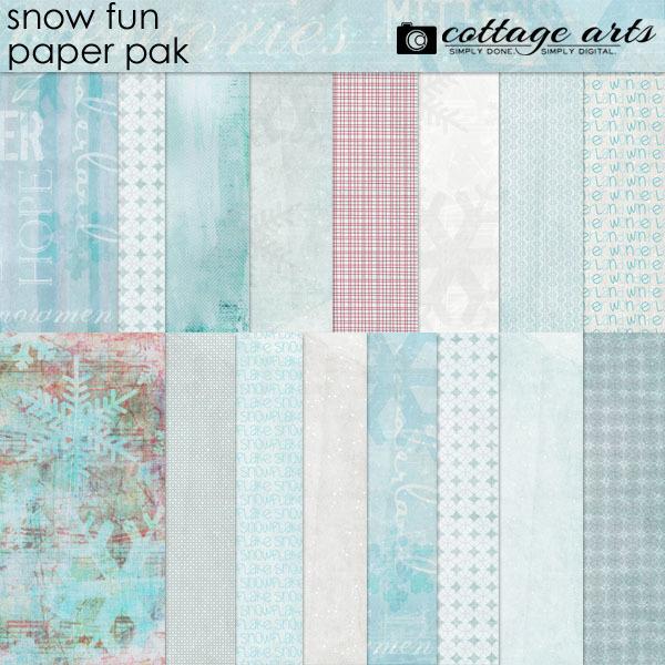 Snow Fun Paper Pak Digital Art - Digital Scrapbooking Kits